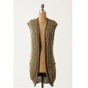ANTHROPOLOGIE Guinevere Lace Braid Sweater Vest M